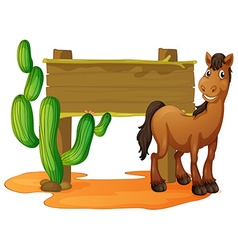 Wooden sign and wild horse in desert vector image vector image