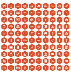100 military icons hexagon orange vector