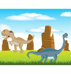 Dinosaurs on meadow vector