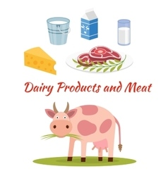 Cow - milk and meat products icons vector
