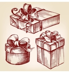 Gift box set hand drawn llustration vector