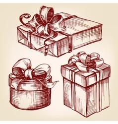 gift box set hand drawn llustration vector image