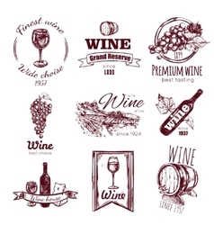 Wine vintage badge set vector