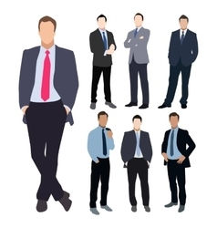 Business man silhouette set vector