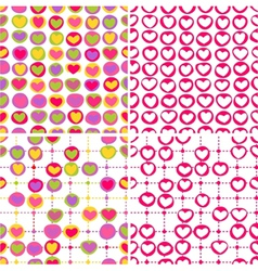 Set of four seamless patterns with doodled hearts vector image