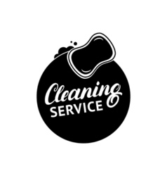 Hand written lettering cleaning service logo label vector