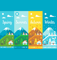 Flat design 4 seasons village vector
