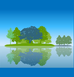 Trees silhouette with reflection in water flat vector
