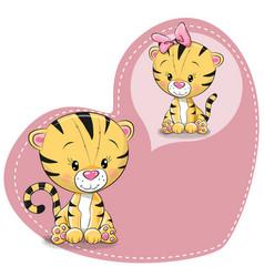 Cute cartoon dreaming tiger vector
