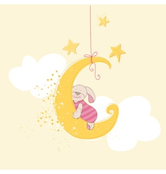 Baby shower or arrival card - sleeping baby bunny vector