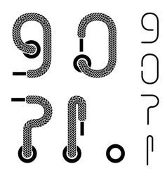 shoe lace number 9 0 question exclamation dot mark vector image