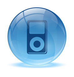 3D glass sphere and music player icon vector image vector image