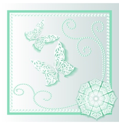 background card with flower lace vector image