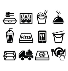 Take away box meal icons set vector