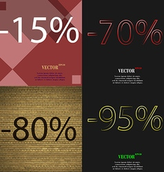 70 80 95 icon set of percent discount on abstract vector