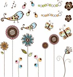 Doodle flowers and bugs set vector