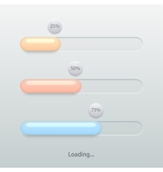 Modern colorful glossy loading bar set vector