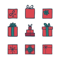 Hand drawn icons gifts vector image