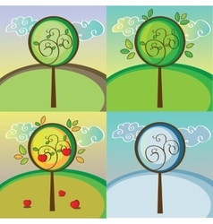 A tree in four different seasons vector