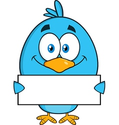 Royalty free rf clipart smiling blue bird cartoon vector