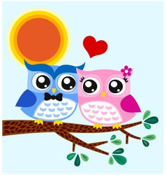 Owl couple in love vector