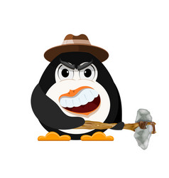 Abstract evil penguin with hat and primitive vector