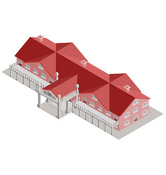 administrative building isometric with red roof vector image vector image