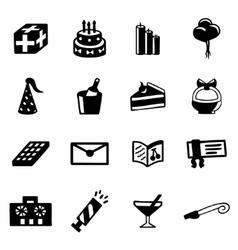 Birthday icon set vector image vector image