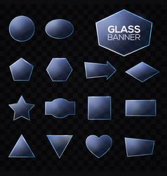 blue glass plates set on transparent background vector image