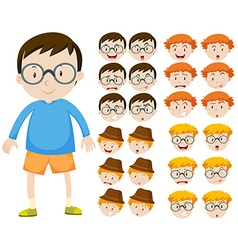 Boy and different facial expressions vector image