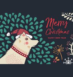 Christmas and new year holiday dog greeting card vector