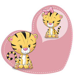 cute cartoon dreaming tiger vector image vector image