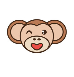 cute monkey face kawaii style vector image vector image