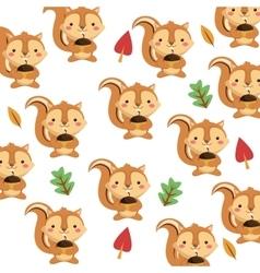 cute squirrel cartoon pattern background vector image