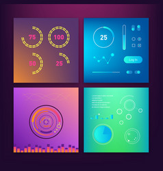 dashboard ui and ux kit bar chart and line graph vector image