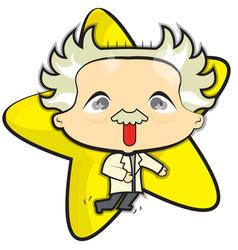 Einstein with a yellow star vector