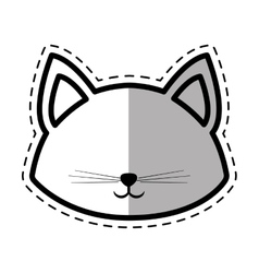 Face cat pedigree feline adorable dot line shadow vector