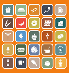 Fast food flat icons on orange background vector