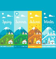 Flat design 4 seasons village vector
