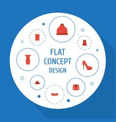 Flat icons heeled shoe sundress fedora and other vector