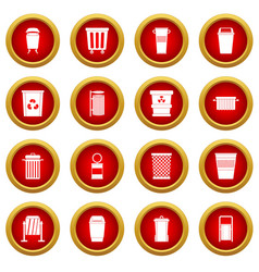 Garbage container icon red circle set vector
