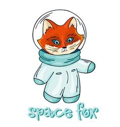 Hand drawn isolated printable of fox astronaut vector