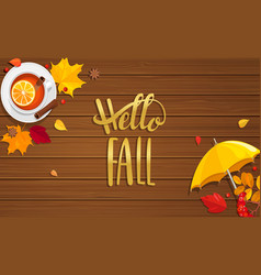 hello fall lettering on wooden background vector image