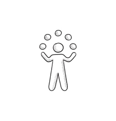 Man juggling with balls sketch icon vector image