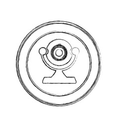 Monochrome sketch of desktop webcam in circular vector