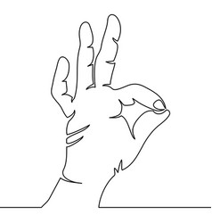 one continuous line hand showing ok gesture vector image vector image