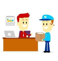 Postman delivering a package to a businessman vector