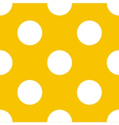 Seamless yellow pattern with white polka dots vector image
