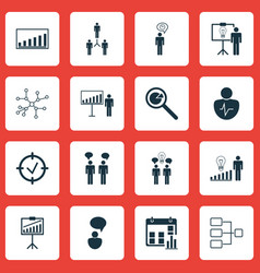 Set of 16 executive icons includes decision vector