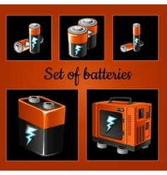Set of batteries on a brown background vector image vector image